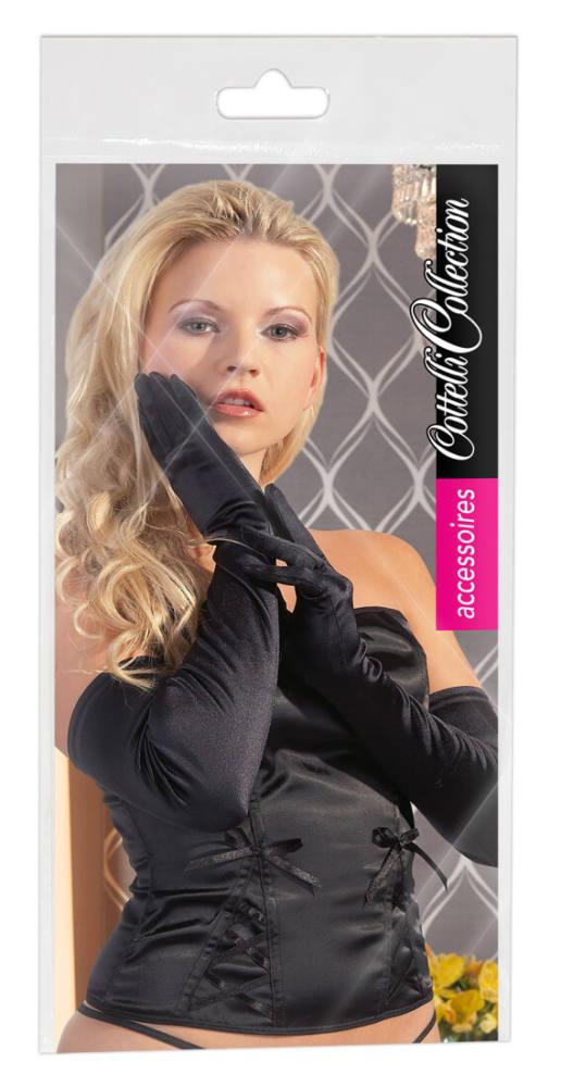 saténové rukavice - čierne