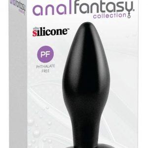 silikónové anale dildo - stredné (čierne)