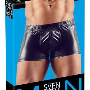 Čierne boxerky z lesklého materiálu s krúžkom na penis